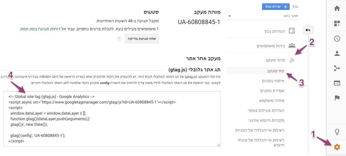 איך למצוא את קוד המעקב של גוגל אנליטיקס?