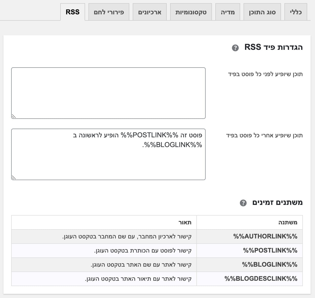 יוסט RSS Feed Options
