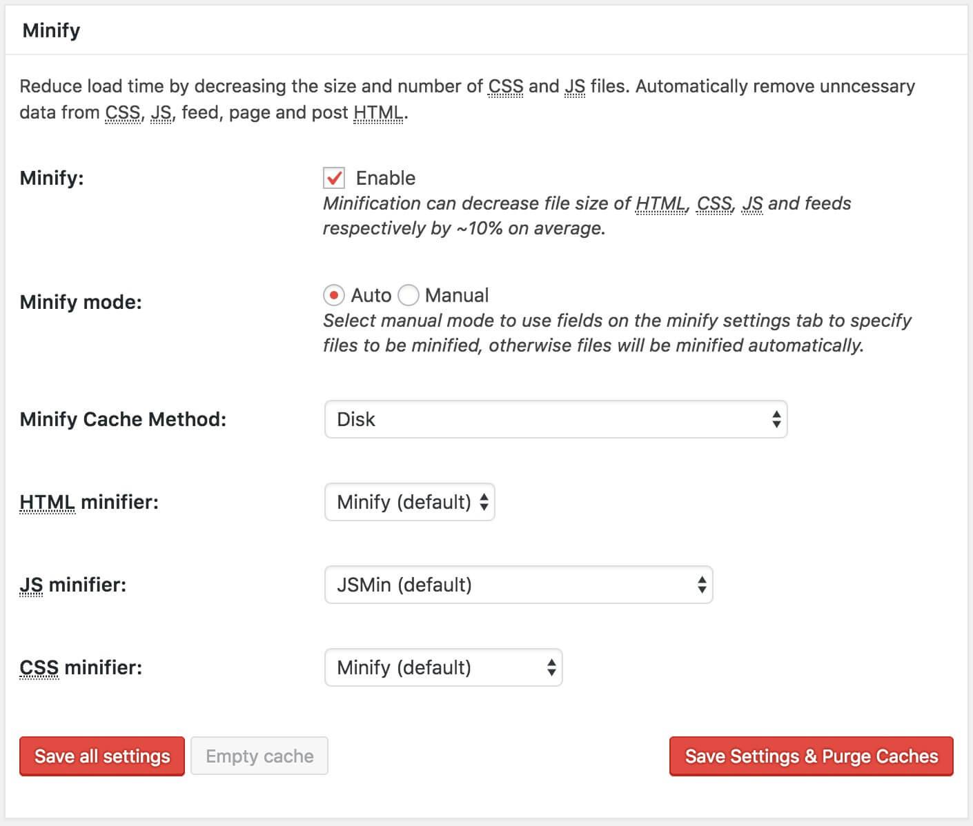 הגדרת Minify Module - W3 Total Cache