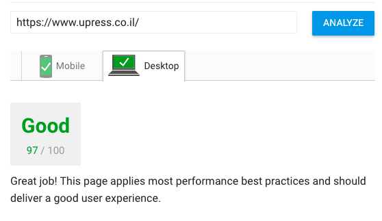 upress-speed-results-pagespeed