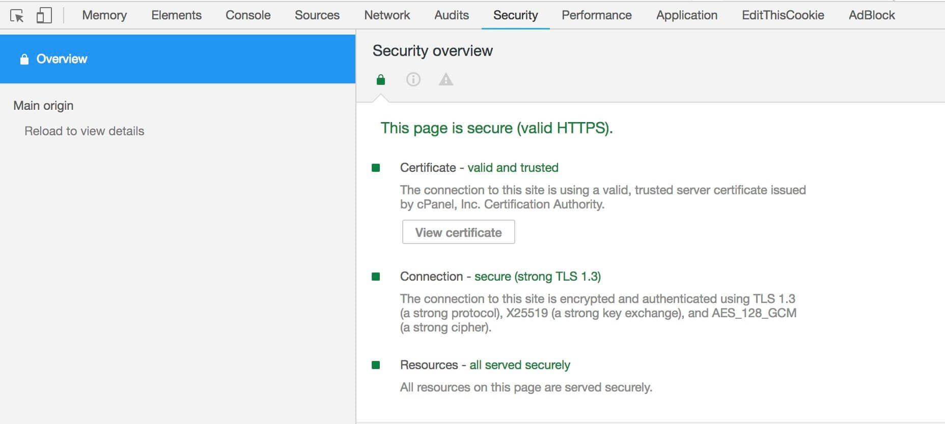 מעבר ל HTTPS - כרום Security Overview