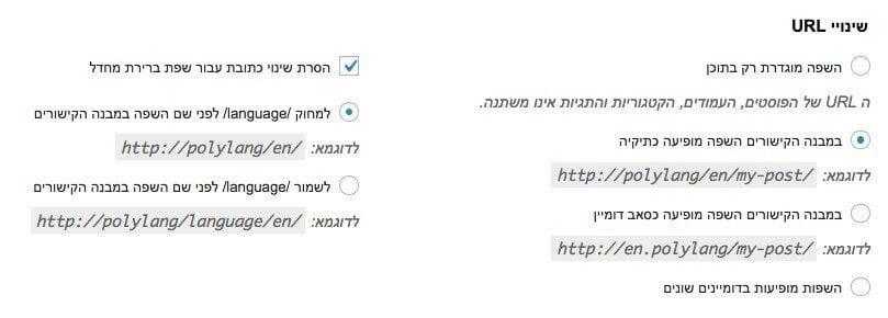 שינויי URL - תוסף Polylang - ריבוי שפות