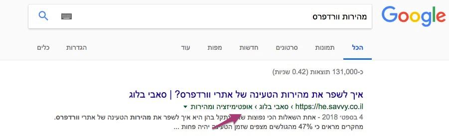 פירורי לחם בתוצאות החיפוש של גוגל