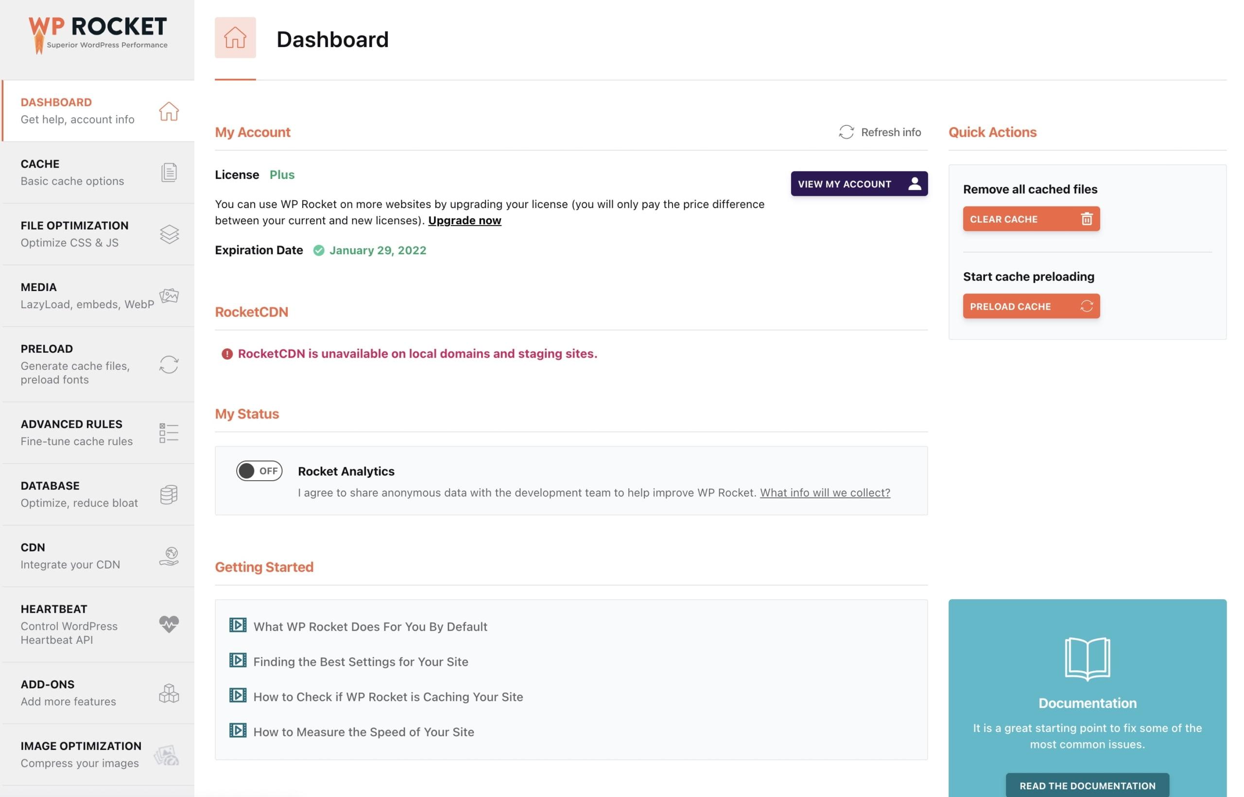 לוח הבקרה – Dashboard