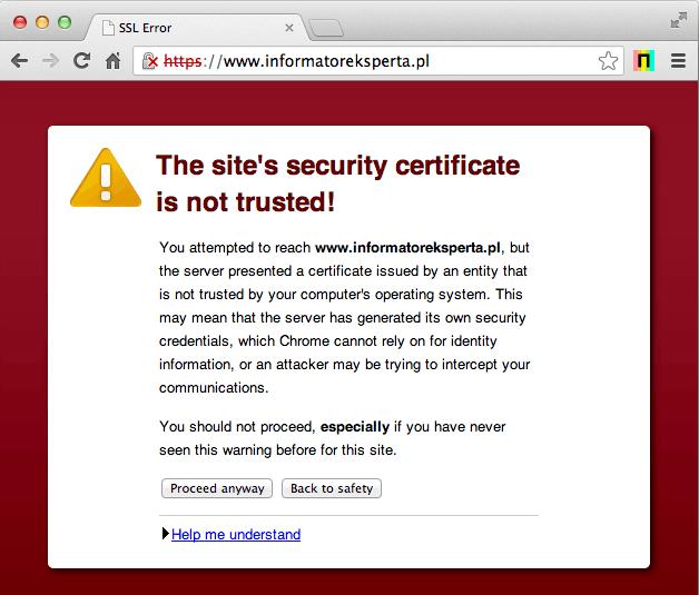 תעודת SSL - שגיאה