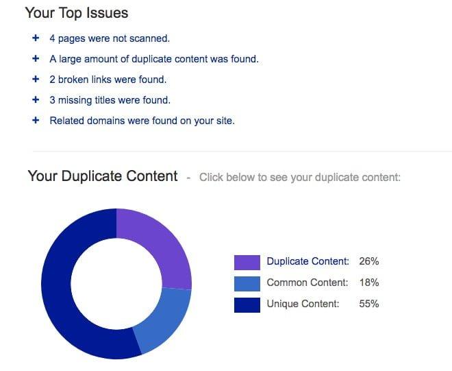 מציאת תוכן משוכפל באמצעות SiteLiner