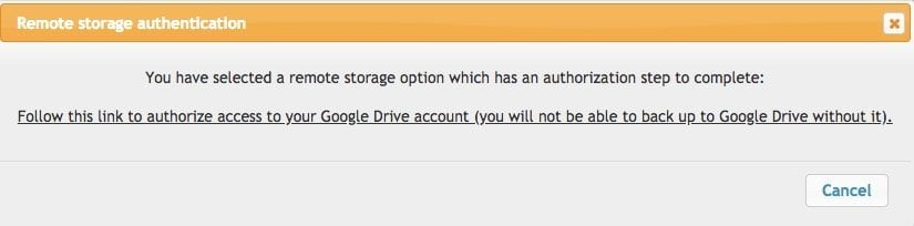 Google Drive Authentication UpdraftPlus