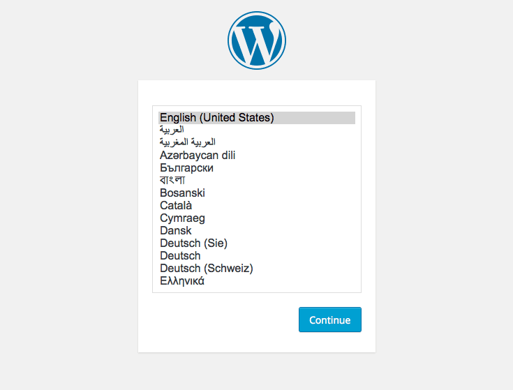 Wordpress Installation - Language Screen