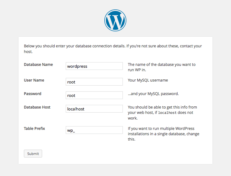 Wordpress Installation - Database Settings