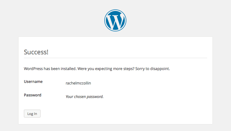 Wordpress Installation - Log in Screen