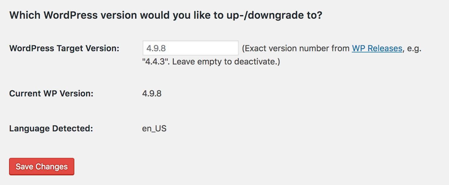שנמוך וורדפרס באמצעות WP Downgrade