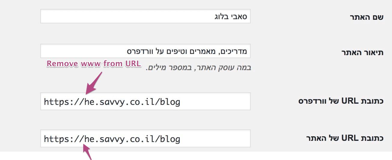 הסרת www מכתובת ה URL