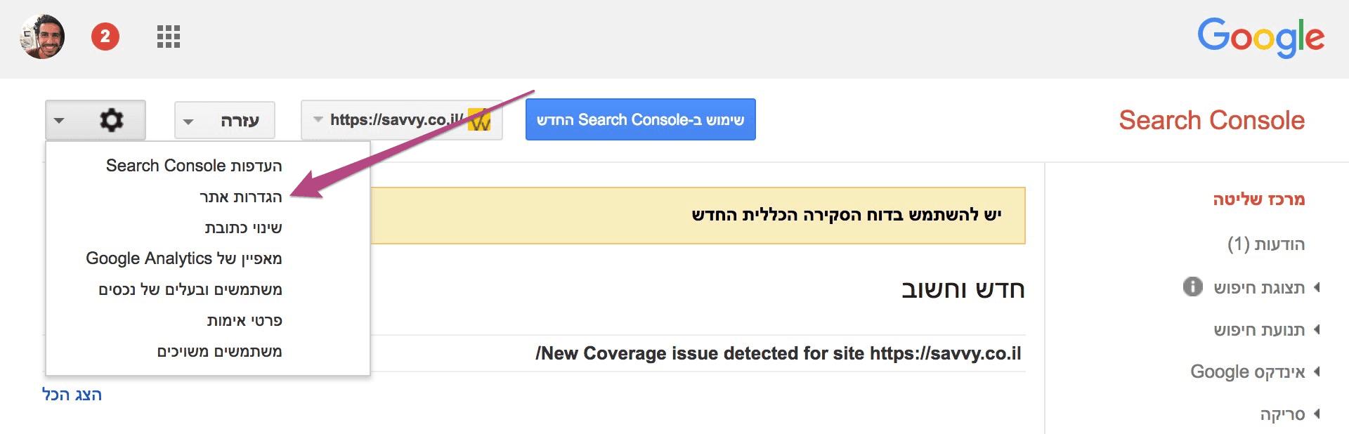 Site Settings - Google Search Console