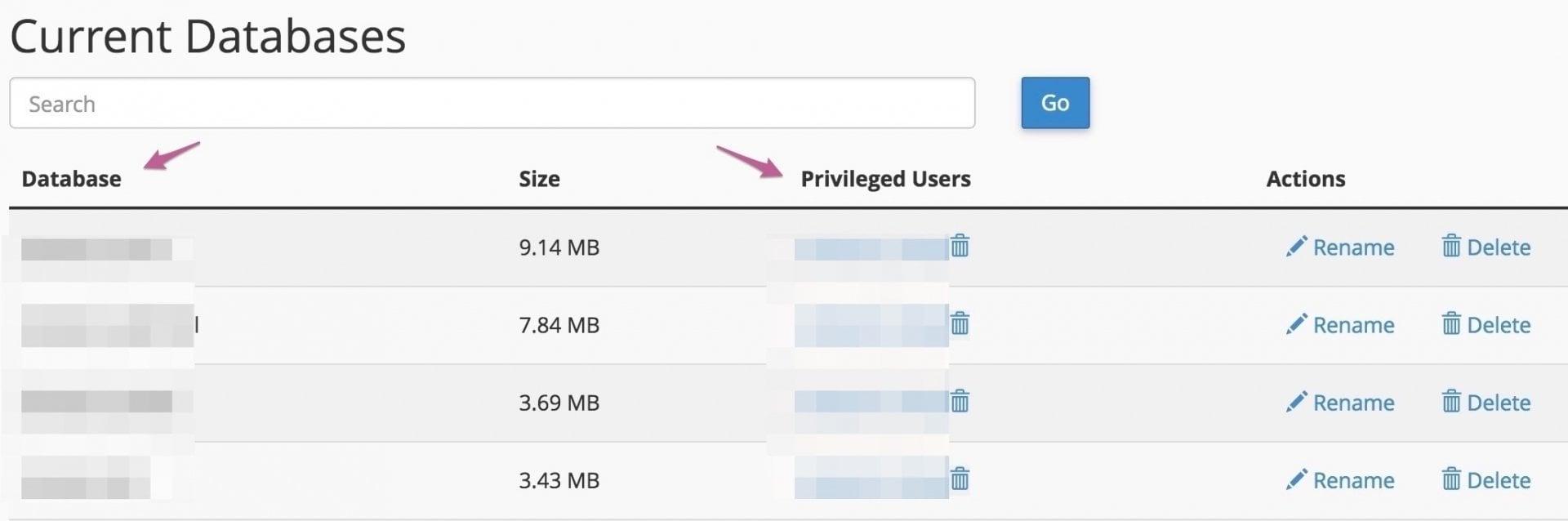 Check current MySQL Databases - WordPress