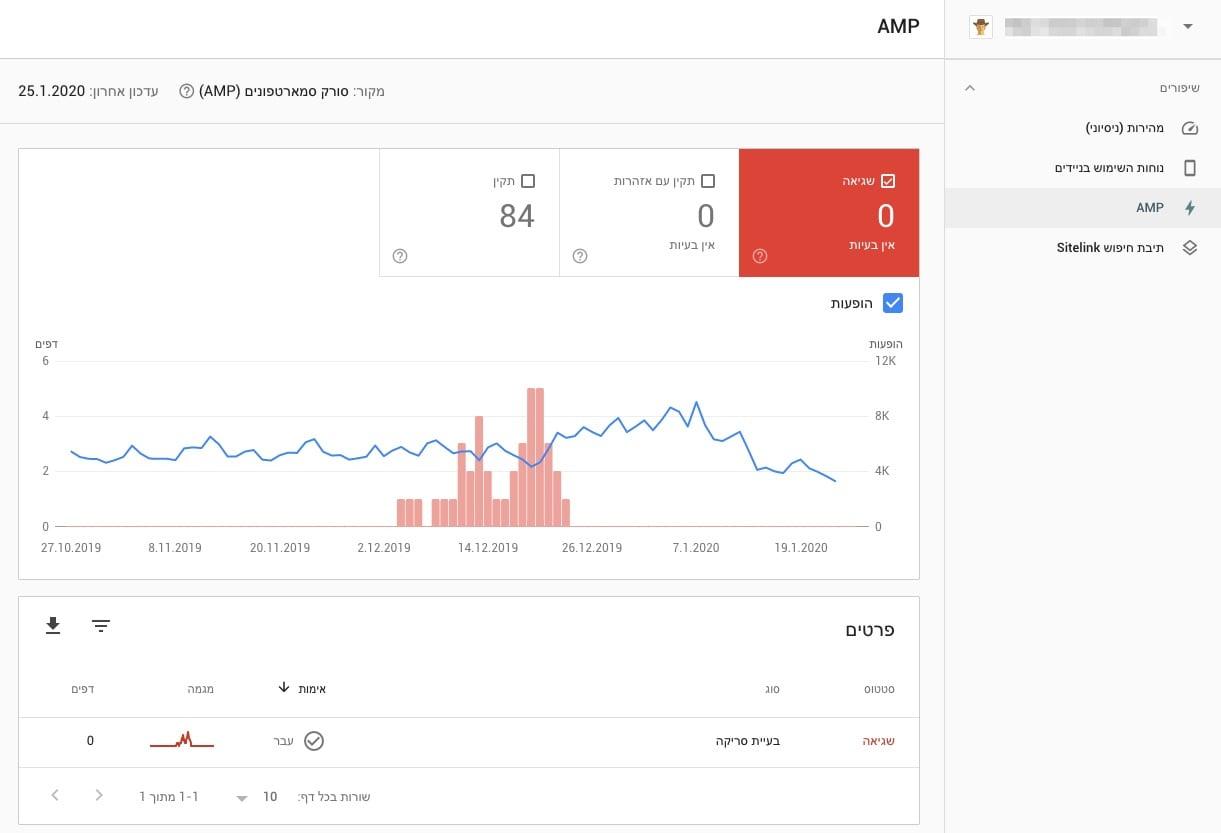 AMP - קונסולת החיפוש של גוגל