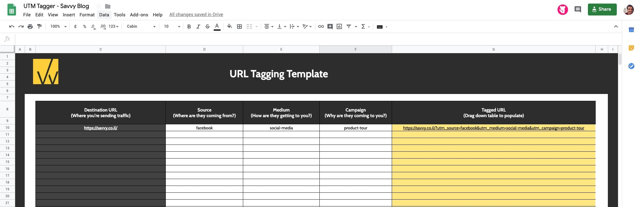 UTM Tagging Template