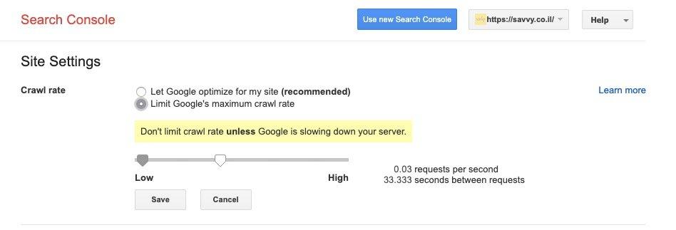 קביעת תדירות סריקה ברמצעות Google Search Console