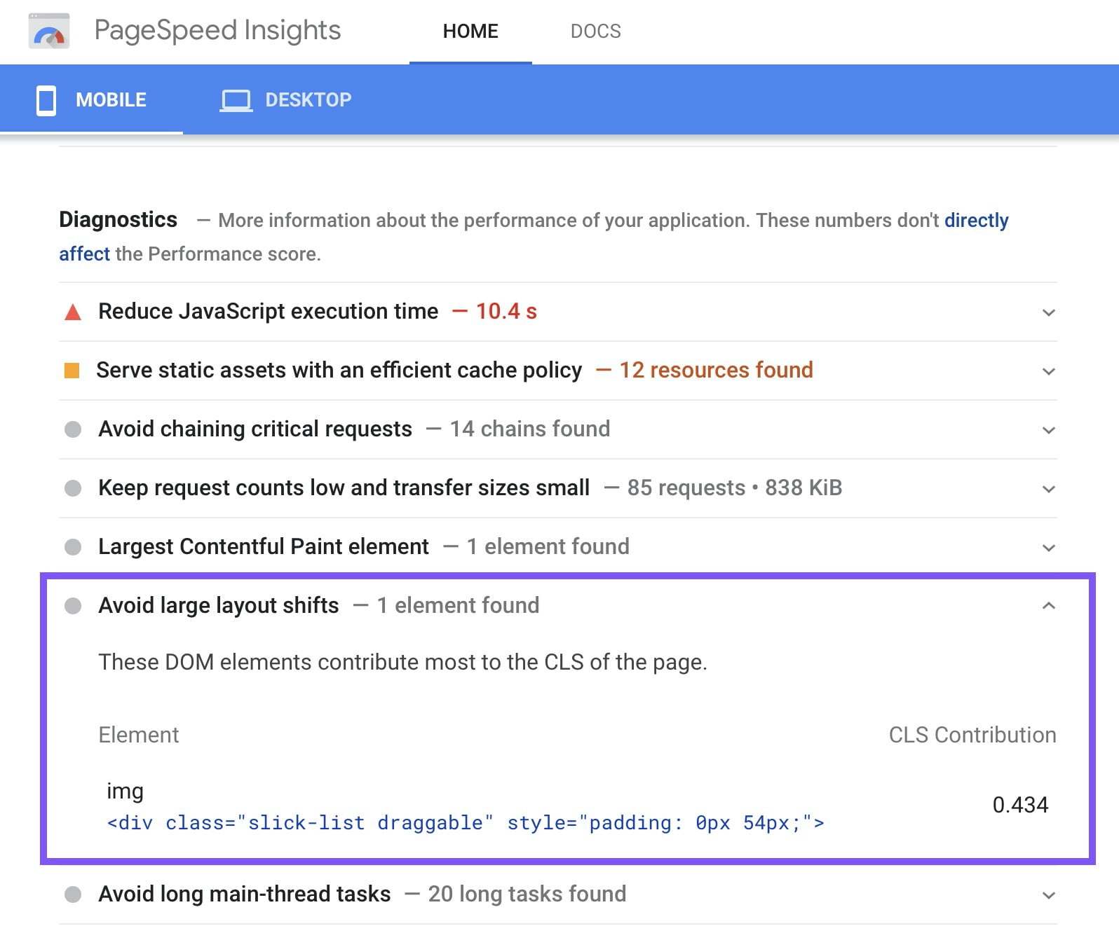 Avoid Large Layout Shifts - PageSpeed Insights