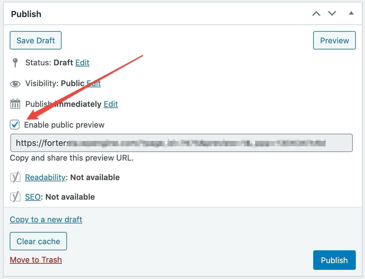שיתוף פוסט טיוטה עם משתמש אנונימי בעורך הקלאסי של וורדפרס